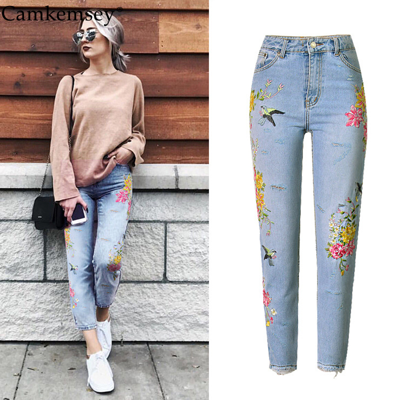 CamKemsey Flower Embroidery High Waist Jeans Woman American Apparel Mom BF Ripped Jeans For Women Casual Straight Denim Pants american apparel bf women jeans high waist floral 3d embroidery high waist ladies straight denim pants jeans bottoms plus size