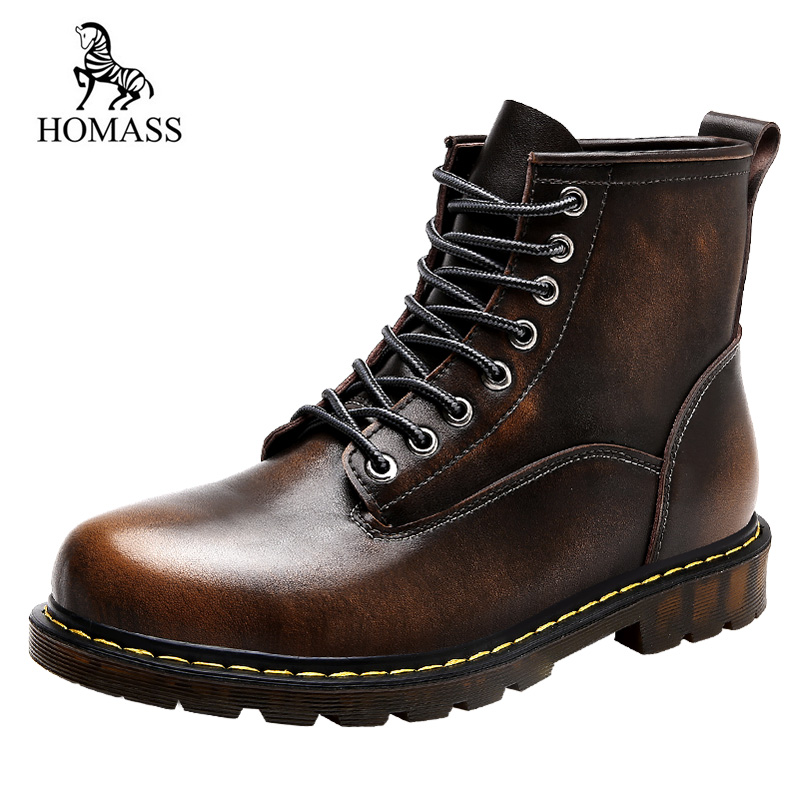 HOMASS New Autumn Winter Men Boots Motorcycle Genuine Martin Boots Vintage Style Men Shoes Casual Fashion High-Cut Lace-up цены онлайн