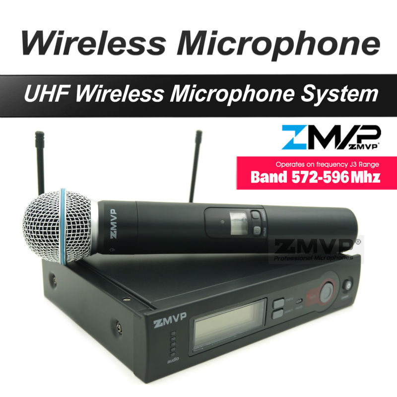 Free Shipping UHF Professional SX 24 B 58 Wireless Microphone Cordless Karaoke With Handheld Transmitter Band
