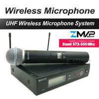 Miễn phí Vận Chuyển! UHF Chuyên Nghiệp SX 24 B 58 Micro Không Dây Cordless Karaoke Với Máy Phát Cầm Tay Ban Nhạc J3 572-596 Mhz