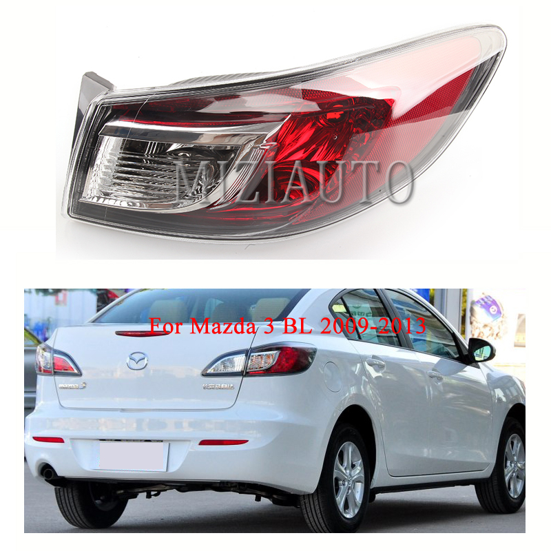 Rear Tail Light Outer for Mazda 3 BL 2009-2013 Tail Light Assembly No Bulb Red Rear Brake Lamp Rear Bumper Light Reflector