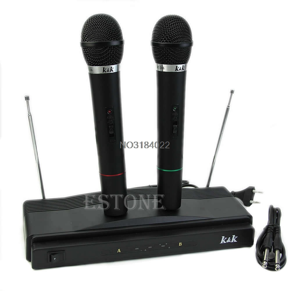 Qualified Professional New Pro Wireless Dual Microphone System Audio Handheld 2 X Mic Cordless Receiver High Quality And Inexpensive