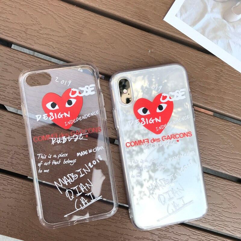 2108 Graffiti CDG Play Comme des Garcons soft cover case for iphone 6 6Plus S 7 7plus 8 8Plus X Transparent Fashion phone cases