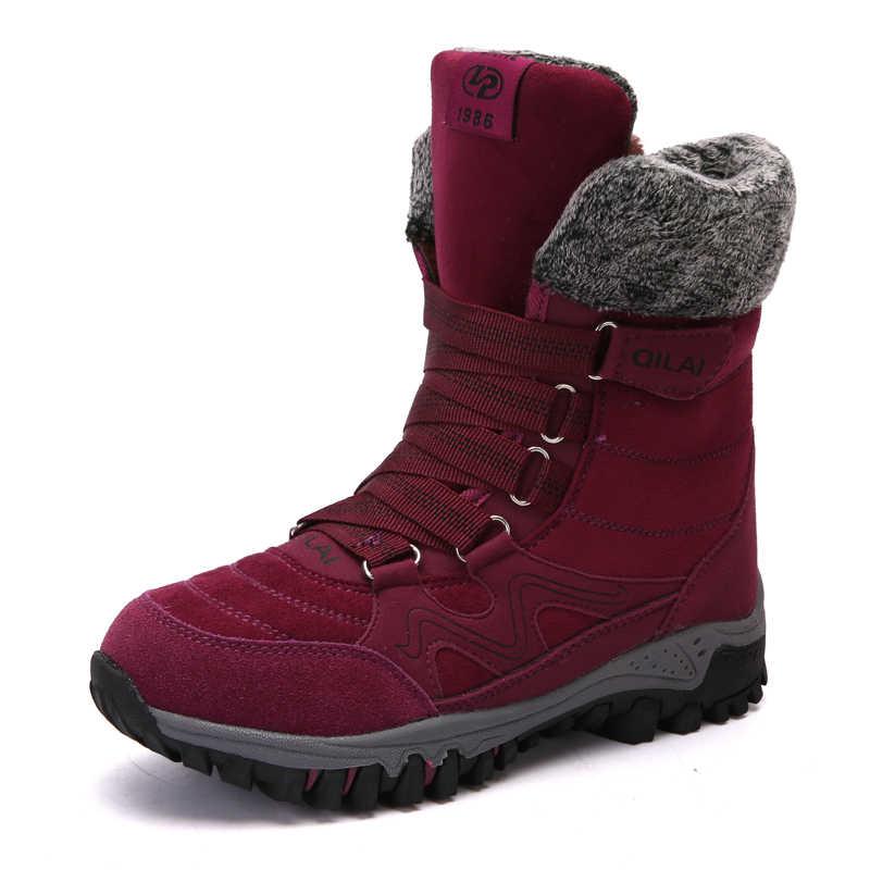 ZUNYU Yeni Varış Moda Süet Deri Kadın Kar Botları Kış sıcak Peluş kadın botları Su Geçirmez yarım çizmeler düz ayakkabı 35- 42