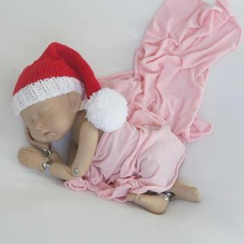 Lovely Newborn Santa Hat Knitted Newborn Christmas Hat Baby Sleep Bonnet Photography Prop Bonnet Infant Night Cap Bonnet Cotton фото