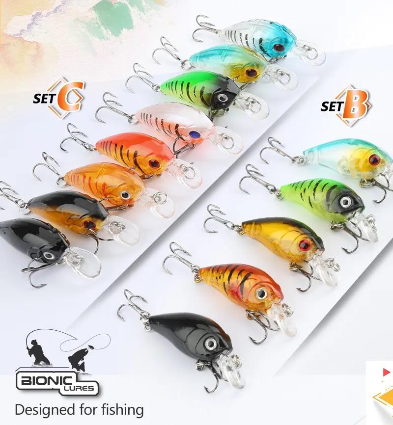 5//8//10pcs Mixed Colors Fishing Lure Set Minnow Baits Kit Wobbler Crankbaits Bait