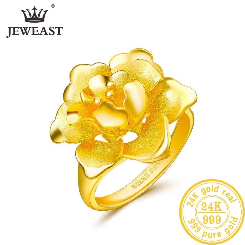 Кольцо из чистого золота SFE 24K, Настоящее Золотое кольцо AU 999, элегантное блестящее красивое высококлассное модное классическое ювелирное из