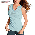 KaigeNina New Fashion Hot Sale Women Casual Loose Appliques Shirt Tank Tops Vest 1043