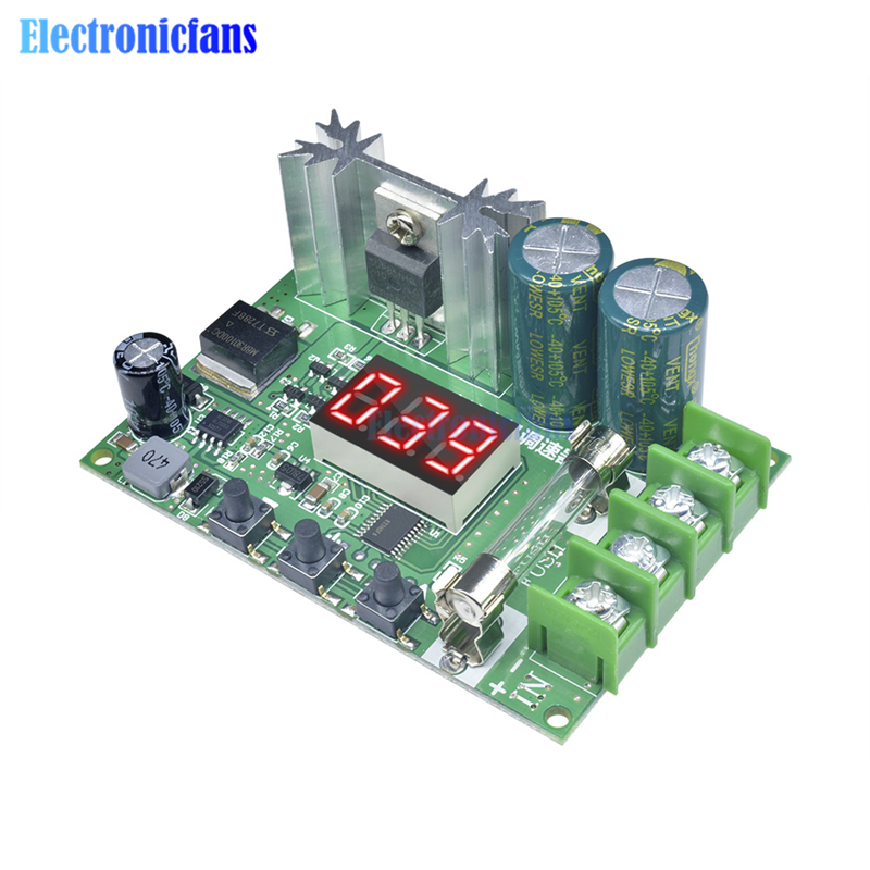 Red Digital Tube LED Display PWM Motor Speed Controller Module 12V-60V 0.01-600W Adjustment motor Governor Regulator module image