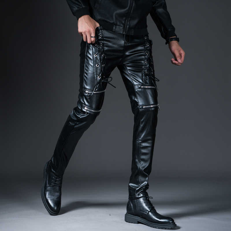 New Winter Spring Mens Skinny Biker Leather Pants Fashion Faux Leather Motorcycle Trousers For Male Trouser Stage Club Wear