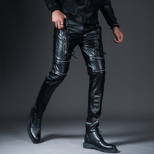 00ac2e63ecd New Winter Spring Mens Skinny Biker Leather Pants Fashion Faux Leather  Motorcycle Trousers For Male Trouser