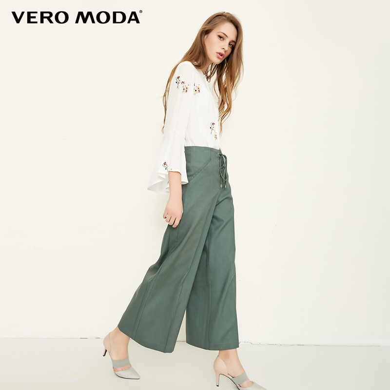 Vero Moda 2019 new straps decorated cropped   wide     leg     pants  |318250530