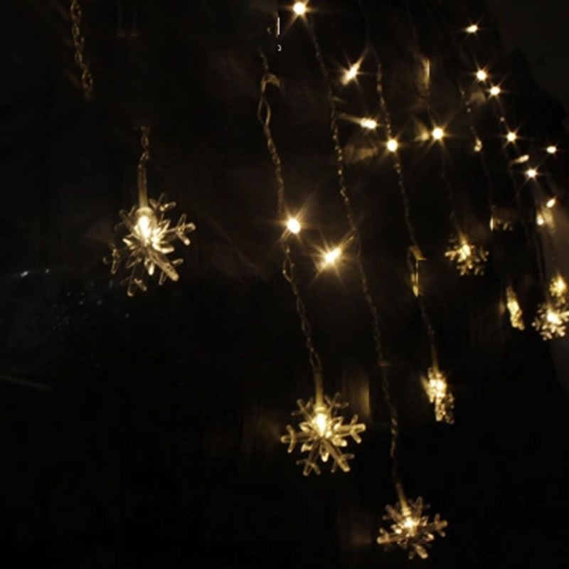 Icicle Snowflake LED Garlands 3.5M  96 LED  Curtain Light Christmas Party Wedding Fairy String Light
