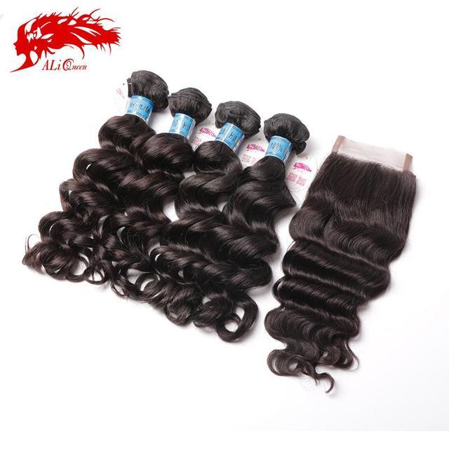 Горячие продажи Продукции волна волос девы перуанские волосы 5 шт много с закрытием mix размер бесплатная доставка человека волос