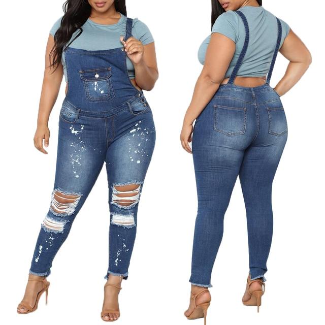 Jumpsuit Casual Bib Pants Denim Ripped Jeans for Women Bodysuit Ladies Rompers Slim Overalls Plus Size 5XL combinaison femme H40