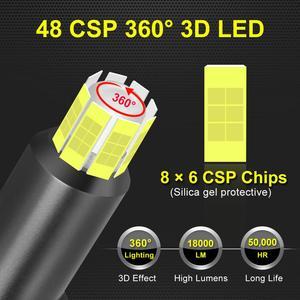 Image 2 - 2 قطعة H1 H7 H8 H9 H11 9005 HB3 9006 HB4 LED في Canbus سيارة المصابيح الأمامية 6000K 50W 18000LM 8 الجانبين 48CSP 360 ° ضوء السيارات كشافات