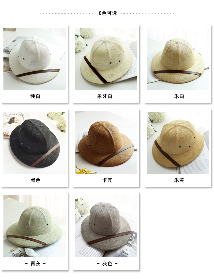 Novelty Toquilla Straw Helmet Pith Sun Hats for Men Vietnam War Army Hat  Dad Boater Bucket Hats Safari Jungle Miners Cap b9155dafdf25