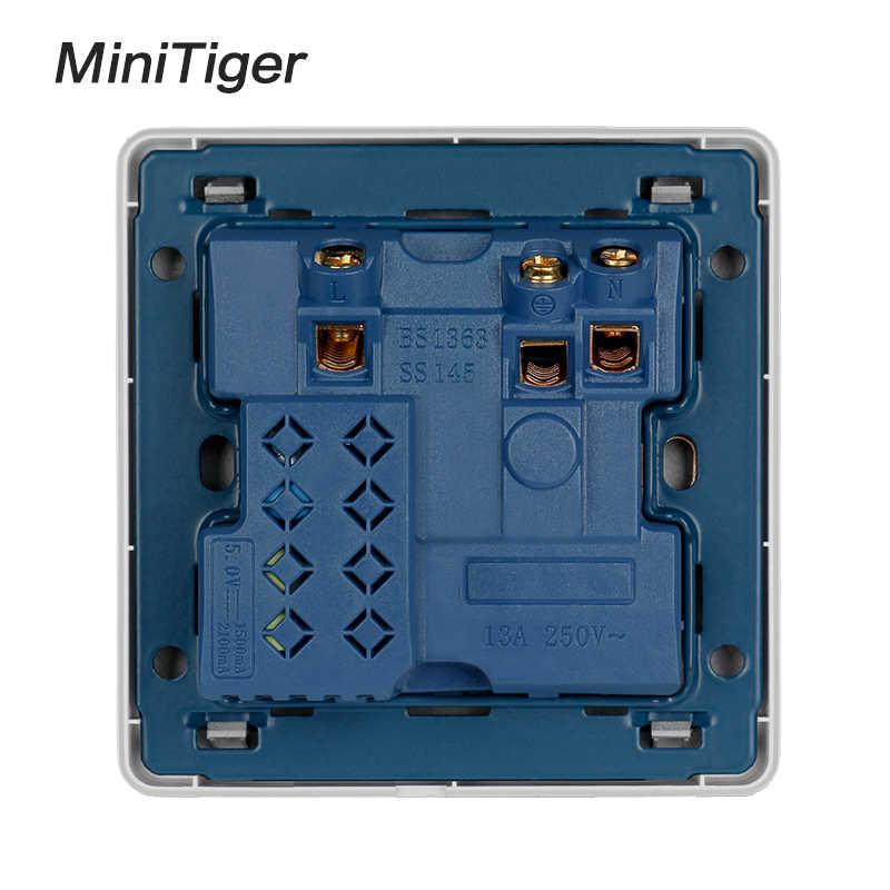 Minitiger biały ścienne gniazdo zasilające 13A w wielkiej brytanii przełączane wylot 2.1A podwójny szybka ładowarka USB Port wskaźnik LED