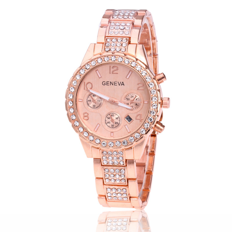 New arrival fashion alloy watches 3 dial stainless steel quartz wristwatches womens best gift