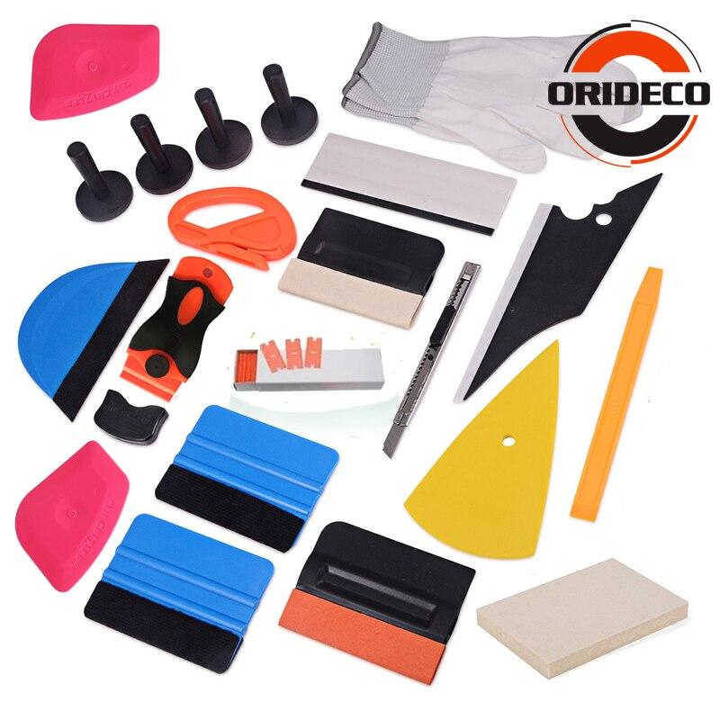 Offre spéciale 21 pièces vinyle Film voiture Wrap outils Kit laine raclette glace grattoir fenêtre teinte outils support magnétique avec lame de couteau de rasoir