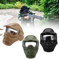 Wosport tático ao ar livre lente máscara rosto cheio respirável cs caça militar airsoft proteção máscaras de combate paintball accessorie
