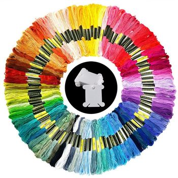 100 Gulungan Benang Bordir Warna Acak Katun Bordir Benang dengan 12 Pieces Benang Kumparan untuk Merajut, Cross Stitch Pro