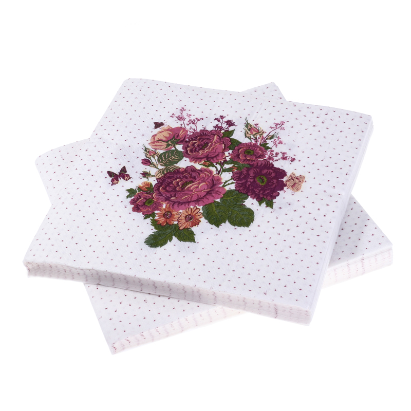 Decoupage Wedding Vintage Napkin Paper Tissue Purple Flower Butterfly Handkerchief Elegant Servilletas Birthday Party Home Decor