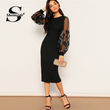 Sheinside noir élégant broderie maille lanterne manches robe femmes 2019 printemps solide moulante robes dames extensible robe Midi(China)