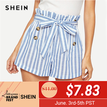 6b313896e1 SHEIN Blue or Green Paper-bag Pleated Waist Buttoned Belt Knot Striped  Shorts Women Summer