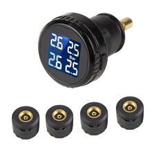 AUTO Wireless Tire Pressure Monitoring System LED Display 4 External Sensors Tpms Car Accessories DIY Tire Gauge