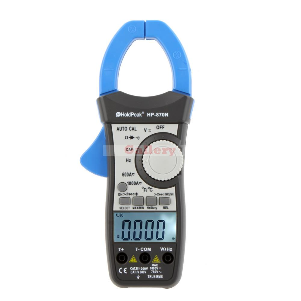 Holdpeak Hp-870n 1000a True Rms Auto Range Digital Clamp Meters Capacitor Temperature 6000 Counts W Dual Lcd Backlight mastech ms8260f 4000 counts auto range megohmmeter dmm frequency capacitor w ncv
