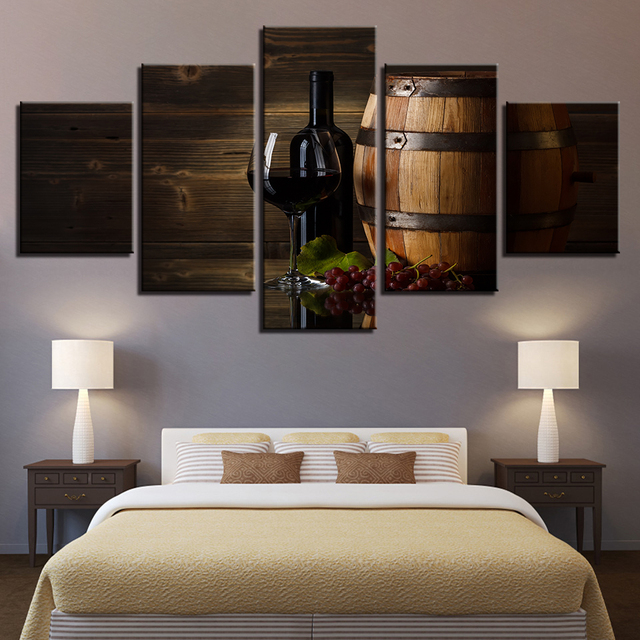 Modern Home Decor Frame Wall Art Poster 5 Panel Red Wine Barrel Cherry  Living Room Canvas