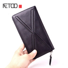AETOO Personality original trend of the first layer soft leather long wallet handbag zipper