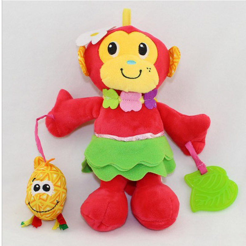 0 baby rattles bell doll plush toy fish teether monkey for Monkey fish toys