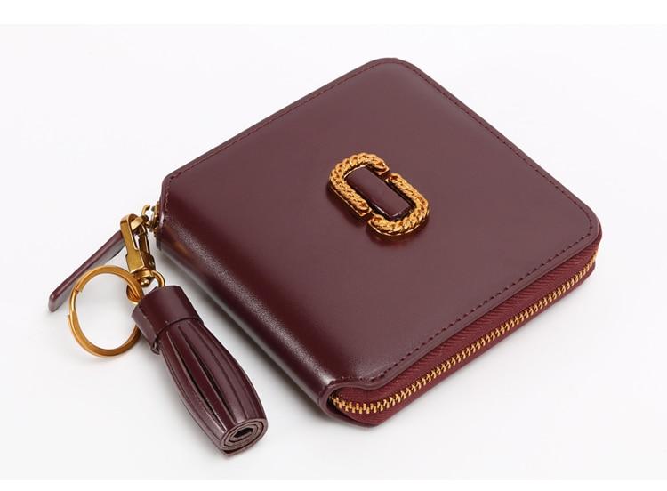 ФОТО  Solid Women Purse Genuine Leather Wallets Women Fashion Moeny Wallets Short For Girls Brand Design portefeuille femme