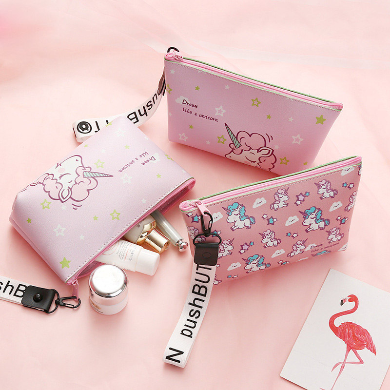 Unicorn Cosmetic Bag Casual Travel Zipper Makeup Case Organizer Storage Pouch Toiletry Wash Kit Storage Bag Bridesmaid Gift Box