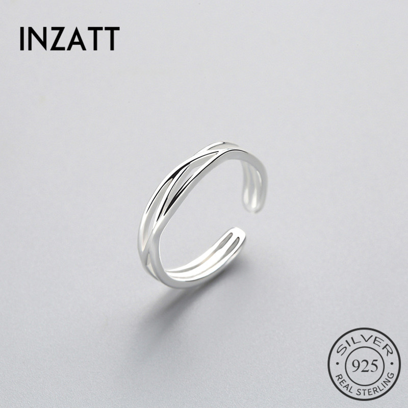 INZATT Minimalist Geometric Twist Line Adjustable Ring Authentic 925 Sterling Silver Fine Jewelry For Women Accessories Gift