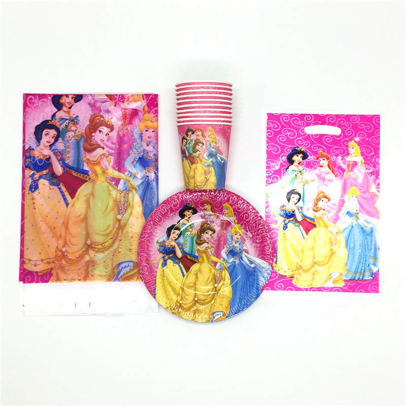 Disney Six Princess Belle Theme Kids Party Decorations Paper Cups Plates Tablecloth Candy/Loot Bag Festival Supplies 31Pcs/Lot