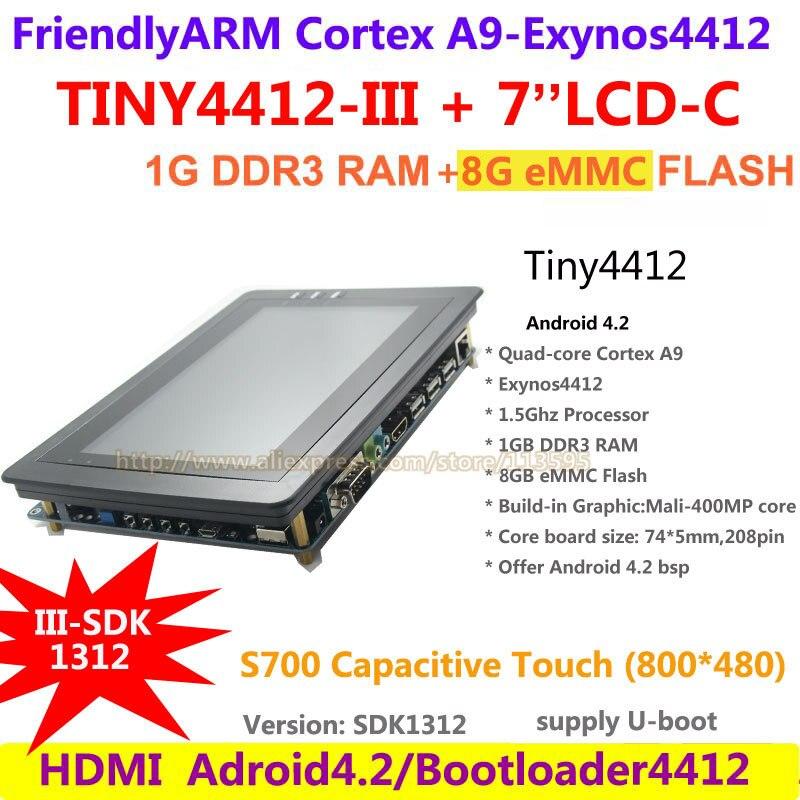 все цены на  FriendlyARM Quad core Cortex A9 Standard TINY4412 III SDK1312 + S702 Capacitive touch 1G RAM 8G eMMC Development Board Android 4  онлайн