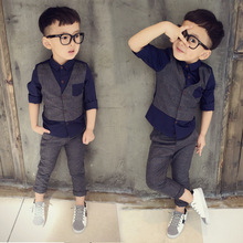 Boys clothes long sleeve single-breasted children's clothing suit vest shirt fake two pieces + pants two sets of children's sets