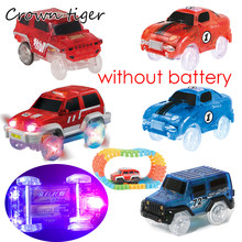 Electronic LED Car for track toy Flashing Light glow Race Track Car led Racing Car Play with Glow Race Track Toy for Boy kid toy(China)