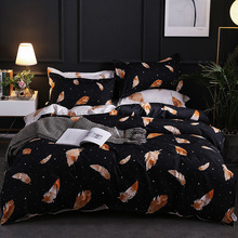 Europe, America,Japan love feather Sheet Full Size Pillowcase&Duvet Cover Sets 3&4 pcs bedding set luxury