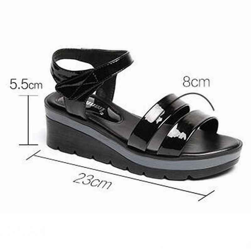 0a1ef127b5 ... GKTINOO 2019 New Leather Women Platform Sandals Hook& Loop Wedge  Sandals Summer Peep Toe Shoes Woman ...