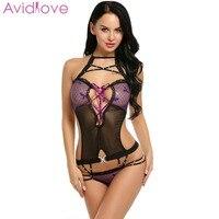 Avidlove Sexy Lingerie Bodysuit Women Sexy One Piece Lingerie Halter Bandage Lace Patchwork Backless Teddies Erotic Nightwear Teddies