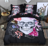 3D Sugar Skull Bedding Set Single Queen King Size 3 4 Pcs Flower Bed Linen Luxury