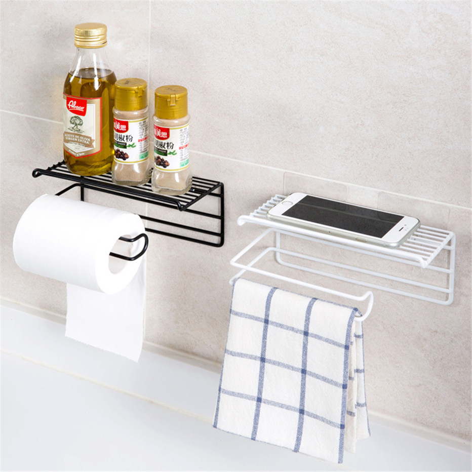Bathroom Towels Storage Rack Makeup Cosmetic Storage Shelf Iron Toilet Roll Paper Holder Kitchen Tools Organizer4
