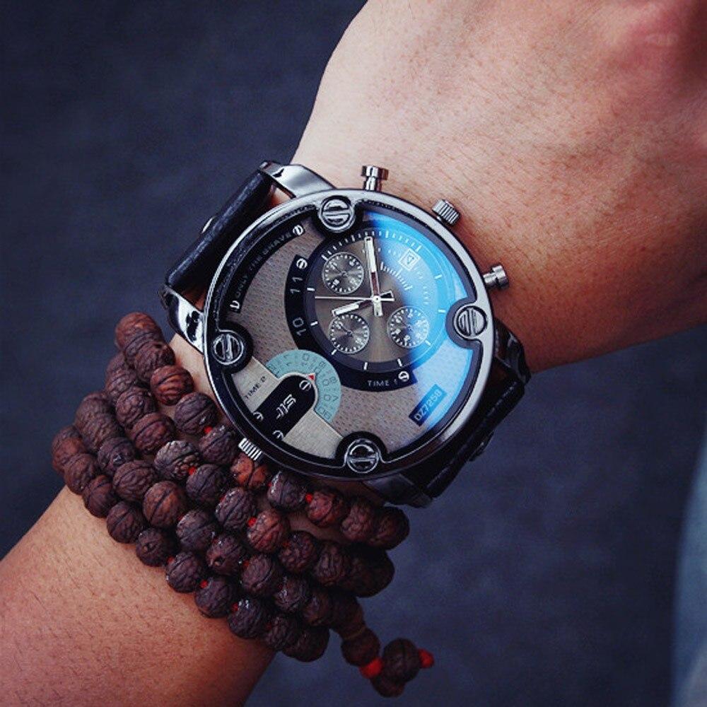 Men Watches Men's Military Dual Movt Men's Leather Analog Digital LED Sport Wrist Watch Quartz Erkek Kol Saati 2019#YY