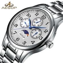 AESOP Mode Hommes Montre Hommes Semaine Affichage Saphir Cristal Bracelet À Quartz Montre-Bracelet Homme Horloge Relogio Masculino Hodinky Boîte 46