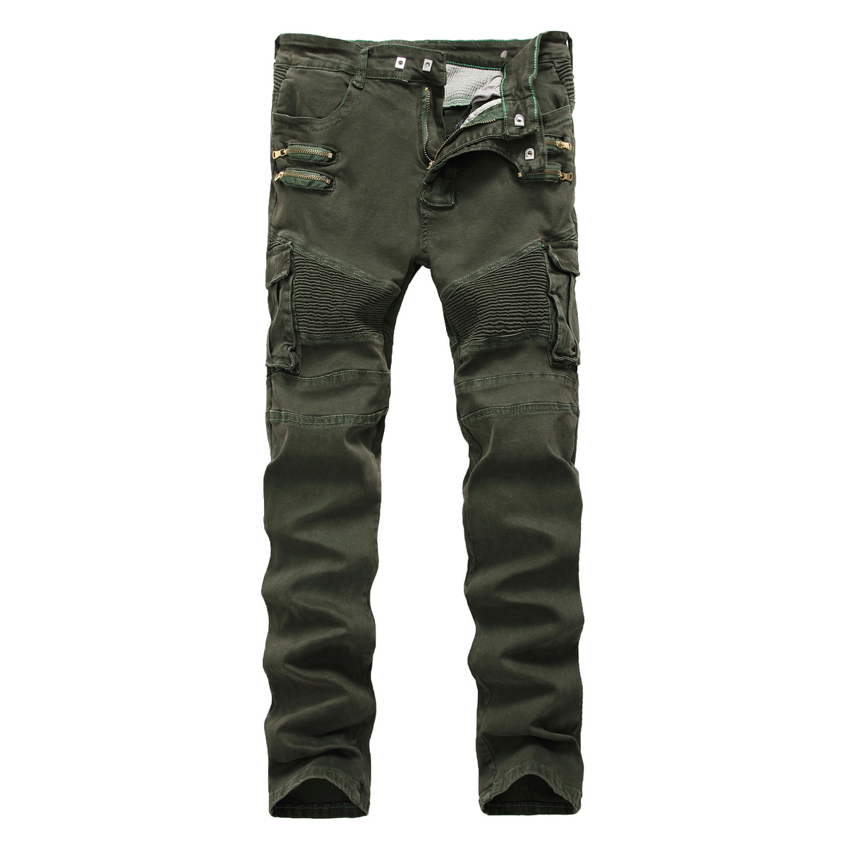 2019 New Men's Army Green Designer Jeans Fashion Personality Straight Tube Waist Multi-pocket Zipper Pants.
