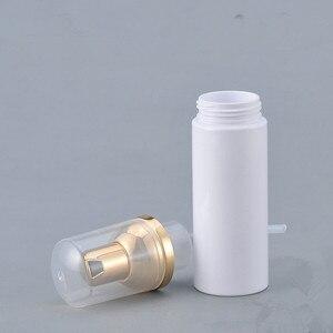 Image 3 - 12 X  30ML 50ML 80ML Cosmetic Facial Cleanser Wash Cream Plastic PET White Liquid Soap Foam Bottle with Golden Foamer Pump